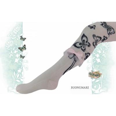Колготки Buonomare, черные бабочки. III размер
